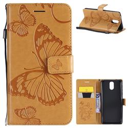 Embossing 3D Butterfly Leather Wallet Case for Nokia 3.1 - Yellow