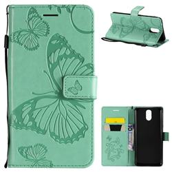 Embossing 3D Butterfly Leather Wallet Case for Nokia 3.1 - Green