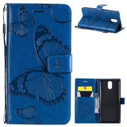 Embossing 3D Butterfly Leather Wallet Case for Nokia 3.1 - Blue