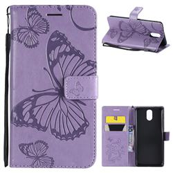 Embossing 3D Butterfly Leather Wallet Case for Nokia 3.1 - Purple