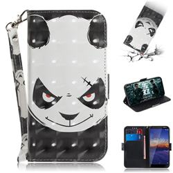 Angry Bear 3D Painted Leather Wallet Phone Case for Nokia 3.1
