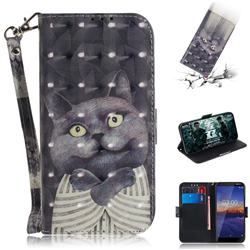 Cat Embrace 3D Painted Leather Wallet Phone Case for Nokia 3.1