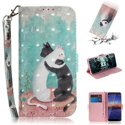 Black and White Cat 3D Painted Leather Wallet Phone Case for Nokia 3.1