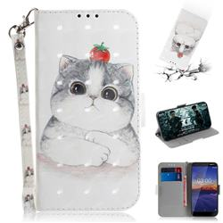 Cute Tomato Cat 3D Painted Leather Wallet Phone Case for Nokia 3.1