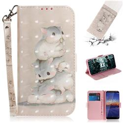 Three Squirrels 3D Painted Leather Wallet Phone Case for Nokia 3.1