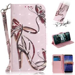 Butterfly High Heels 3D Painted Leather Wallet Phone Case for Nokia 3.1