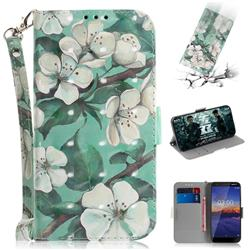 Watercolor Flower 3D Painted Leather Wallet Phone Case for Nokia 3.1