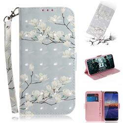 Magnolia Flower 3D Painted Leather Wallet Phone Case for Nokia 3.1