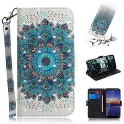 Peacock Mandala 3D Painted Leather Wallet Phone Case for Nokia 3.1