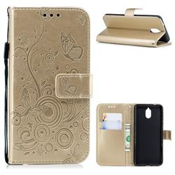 Intricate Embossing Butterfly Circle Leather Wallet Case for Nokia 3.1 - Champagne