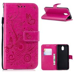 Intricate Embossing Butterfly Circle Leather Wallet Case for Nokia 3.1 - Red