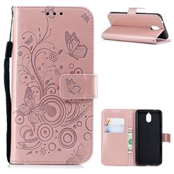 Intricate Embossing Butterfly Circle Leather Wallet Case for Nokia 3.1 - Rose Gold