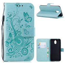 Intricate Embossing Butterfly Circle Leather Wallet Case for Nokia 3.1 - Cyan