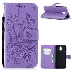 Intricate Embossing Butterfly Circle Leather Wallet Case for Nokia 3.1 - Purple