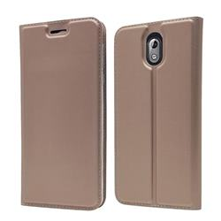 Ultra Slim Card Magnetic Automatic Suction Leather Wallet Case for Nokia 3.1 - Rose Gold