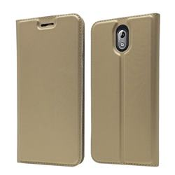 Ultra Slim Card Magnetic Automatic Suction Leather Wallet Case for Nokia 3.1 - Champagne