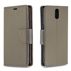 Classic Luxury Litchi Leather Phone Wallet Case for Nokia 3.1 - Gray