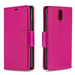 Classic Luxury Litchi Leather Phone Wallet Case for Nokia 3.1 - Rose