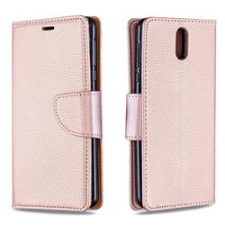 Classic Luxury Litchi Leather Phone Wallet Case for Nokia 3.1 - Golden