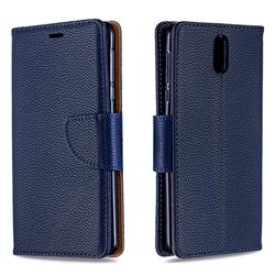 Classic Luxury Litchi Leather Phone Wallet Case for Nokia 3.1 - Blue