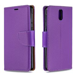 Classic Luxury Litchi Leather Phone Wallet Case for Nokia 3.1 - Purple