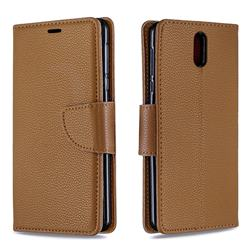 Classic Luxury Litchi Leather Phone Wallet Case for Nokia 3.1 - Brown