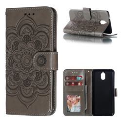 Intricate Embossing Datura Solar Leather Wallet Case for Nokia 3.1 - Gray