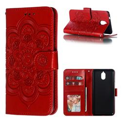 Intricate Embossing Datura Solar Leather Wallet Case for Nokia 3.1 - Red