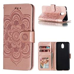 Intricate Embossing Datura Solar Leather Wallet Case for Nokia 3.1 - Rose Gold