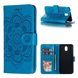 Intricate Embossing Datura Solar Leather Wallet Case for Nokia 3.1 - Blue