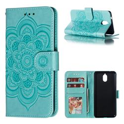 Intricate Embossing Datura Solar Leather Wallet Case for Nokia 3.1 - Green