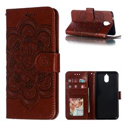 Intricate Embossing Datura Solar Leather Wallet Case for Nokia 3.1 - Brown