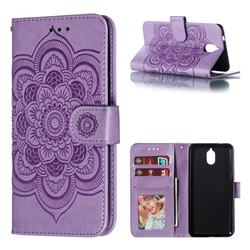 Intricate Embossing Datura Solar Leather Wallet Case for Nokia 3.1 - Purple