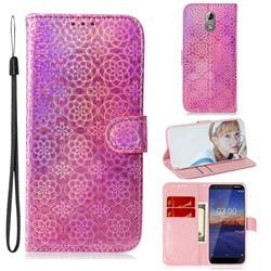 Laser Circle Shining Leather Wallet Phone Case for Nokia 3.1 - Pink