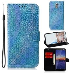 Laser Circle Shining Leather Wallet Phone Case for Nokia 3.1 - Blue