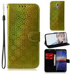 Laser Circle Shining Leather Wallet Phone Case for Nokia 3.1 - Golden