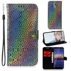 Laser Circle Shining Leather Wallet Phone Case for Nokia 3.1 - Silver