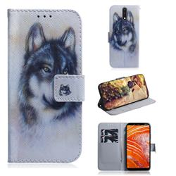 Snow Wolf PU Leather Wallet Case for Nokia 3.1 Plus