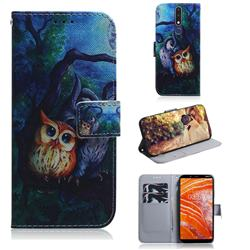 Oil Painting Owl PU Leather Wallet Case for Nokia 3.1 Plus