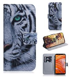 White Tiger PU Leather Wallet Case for Nokia 3.1 Plus