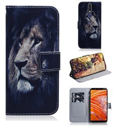 Lion Face PU Leather Wallet Case for Nokia 3.1 Plus