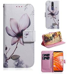 Magnolia Flower PU Leather Wallet Case for Nokia 3.1 Plus