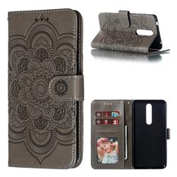 Intricate Embossing Datura Solar Leather Wallet Case for Nokia 3.1 Plus - Gray