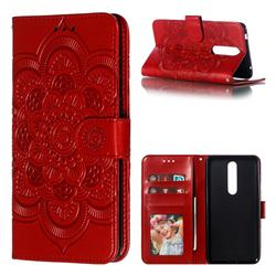 Intricate Embossing Datura Solar Leather Wallet Case for Nokia 3.1 Plus - Red