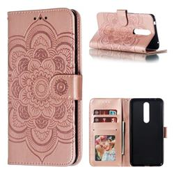 Intricate Embossing Datura Solar Leather Wallet Case for Nokia 3.1 Plus - Rose Gold