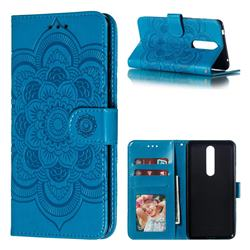 Intricate Embossing Datura Solar Leather Wallet Case for Nokia 3.1 Plus - Blue