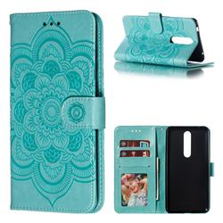 Intricate Embossing Datura Solar Leather Wallet Case for Nokia 3.1 Plus - Green