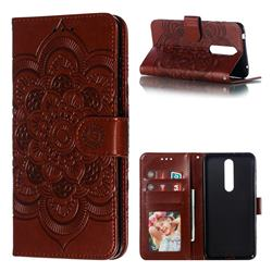 Intricate Embossing Datura Solar Leather Wallet Case for Nokia 3.1 Plus - Brown