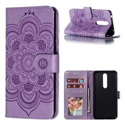 Intricate Embossing Datura Solar Leather Wallet Case for Nokia 3.1 Plus - Purple