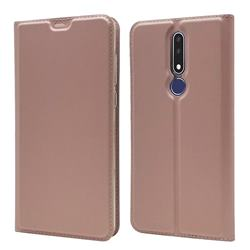 Ultra Slim Card Magnetic Automatic Suction Leather Wallet Case for Nokia 3.1 Plus - Rose Gold